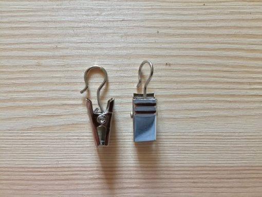 Gardinenklammern mit Haken in Silber