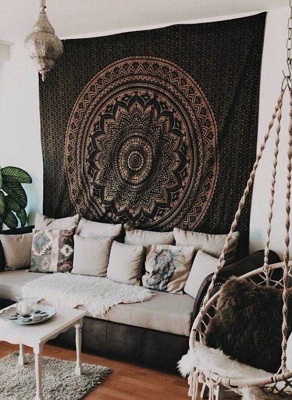 Gold Wandtuch Ombre Mandala schwarz Kundenbild - groß