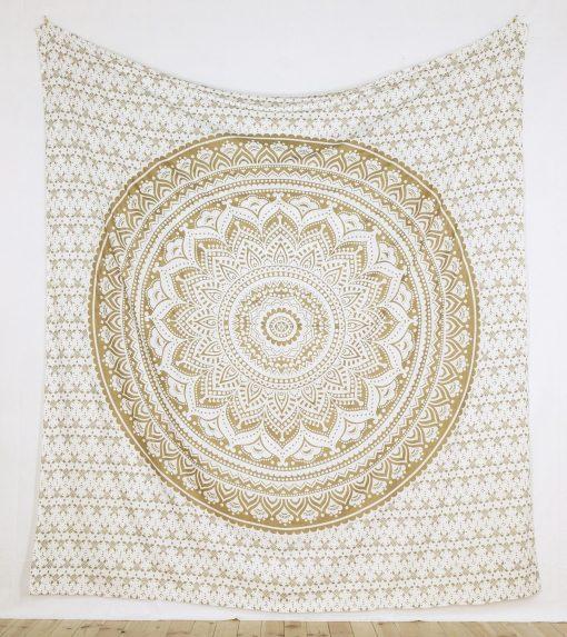 Großes Wandtuch mit Ombre Mandala weiß gold