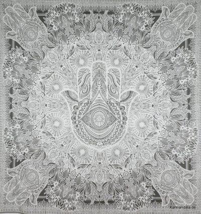 Großes Wandtuch mit Fatimas Hand in weiß grau