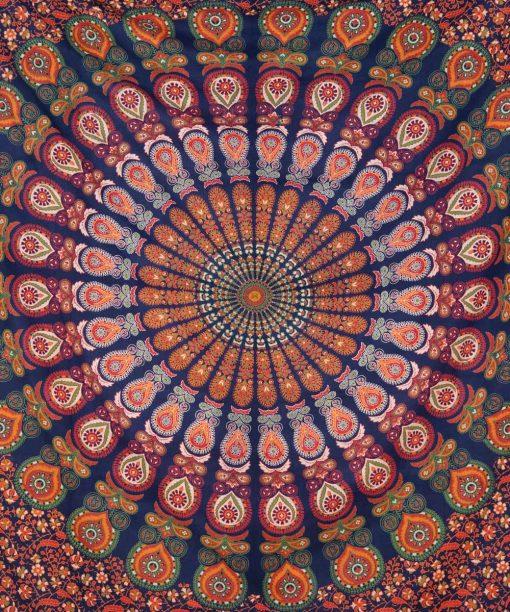 Großes Wandtuch mit Pfauenfeder Mandala in blau grün orange