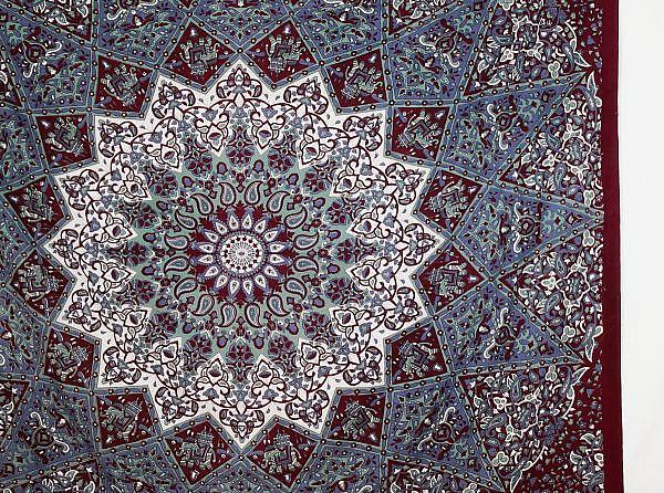 Großes Wandtuch mit Stern Mandala dunkelrot grau türkis