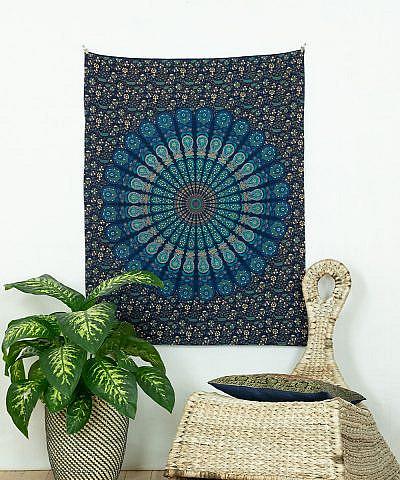Kleines Wandtuch Pfauenfeder Mandala blau türkis