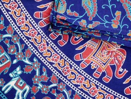 Großes Mandala Wandtuch mit Elefanten in orange türkis