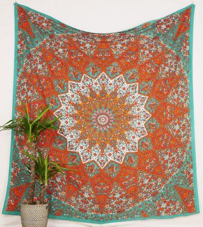 Großes Wandtuch mit Stern Mandala in orange türkis