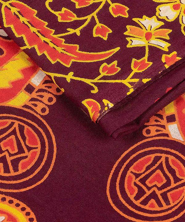 Großes Wandtuch mit Pfauenfeder Mandala in dunkelrot orange