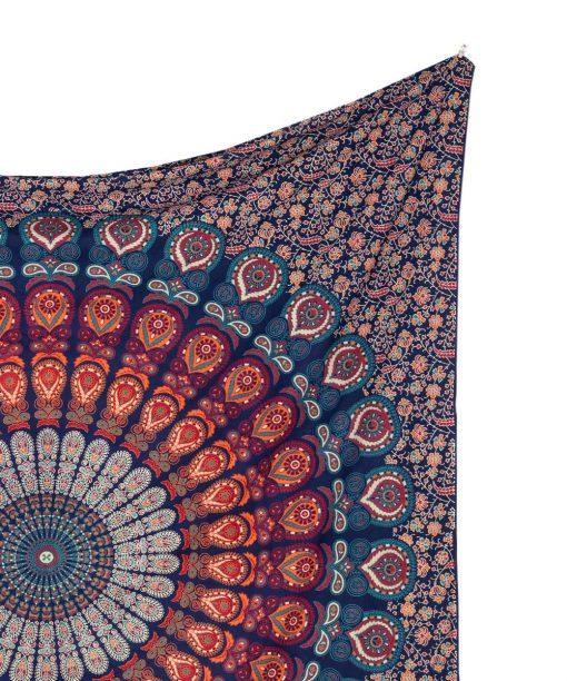 Großes Wandtuch mit Pfauenfeder Mandala in blau orange türkis