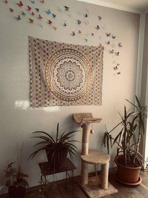 Wandtuch Ombre Mandala Ocker braun - klein ca. 100x75 cm