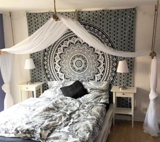 Wandtuch Ombre Mandala schwarz grau Beispielbild