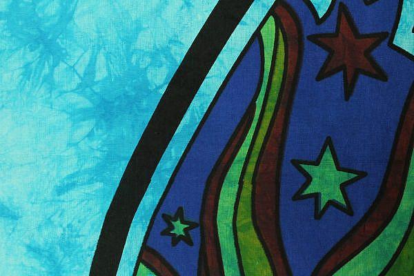 Goa Wandtuch magischer Pilz batik blau