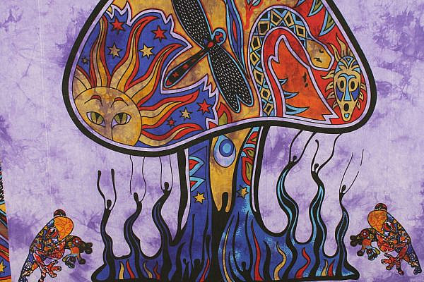 Goa Wandtuch magischer Pilz batik lila