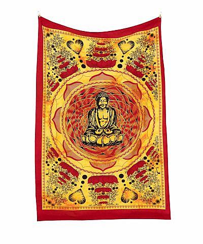 kleines buddha wandtuch mit roten herzblüten