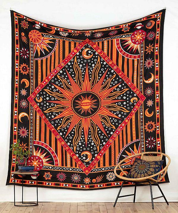 Wandtuch Astro in schwarz und orange - groß ca. 210x230 cm