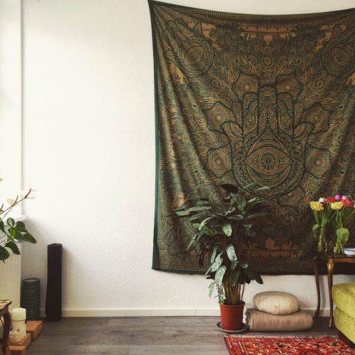 Gold Wandtuch Fatimas Hand grün Kundenbild - groß