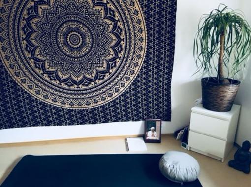Gold Wandtuch Ombre Mandala blau Kundenbild - groß