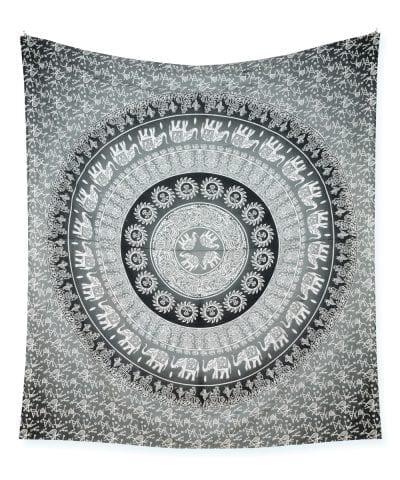 Großes Wandtuch mit Elefanten Mandala in weiß grau