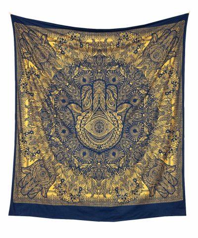 Blaues Wandtuch mit Fatimas Hand in goldener Farbe