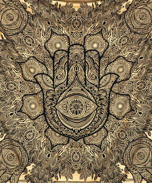 Fatimas Hand Symbol in gold mit orientalischen Ornamenten