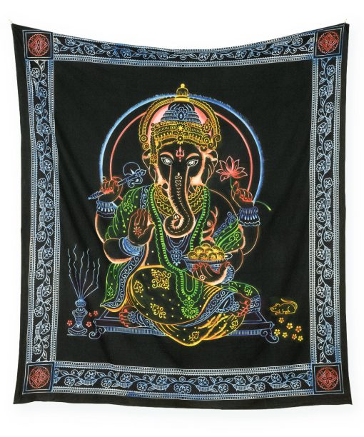 Großes Wandtuch mit Hindugott Ganesha in schwarz bunt