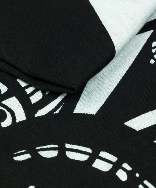 Großes Wandtuch mit Elefant in schwarz