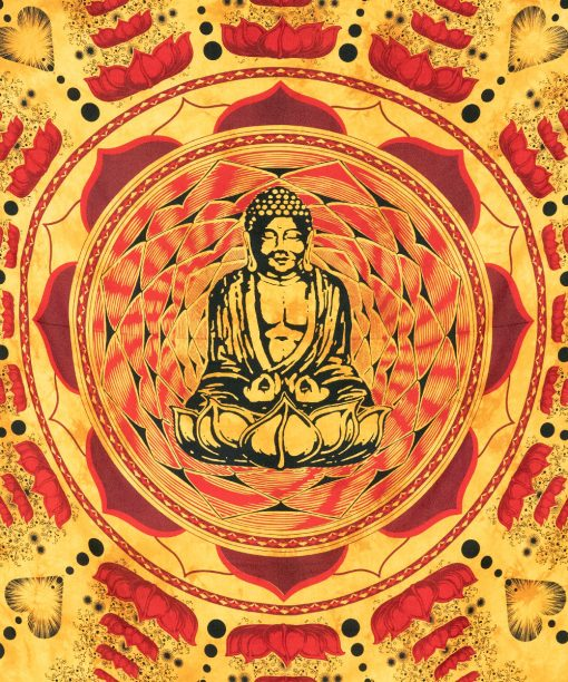 Spirituelles Wandtuch mit Buddha in orange rot