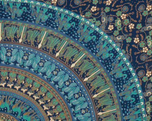 Wandtuch Elefanten Mandala blau türkis