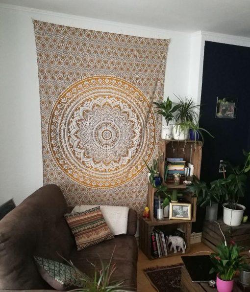 Wandtuch Ombre Mandala in ocker braun - medium