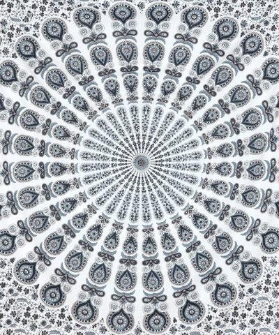 Wandtuch mit Pfauenfeder Mandala in weiß grau