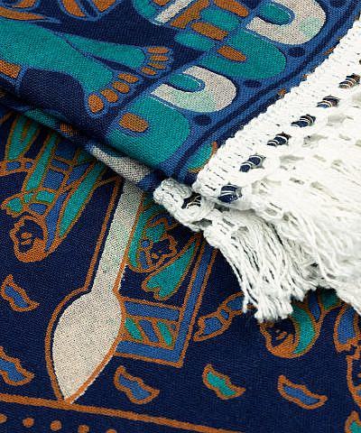 Strandtuch Kreis Mandala blau türkis