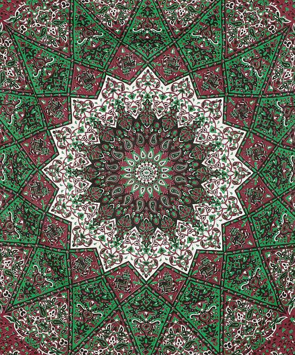 Komplexes Mandala mit Elefanten in schwarz, grün und dunkelrot