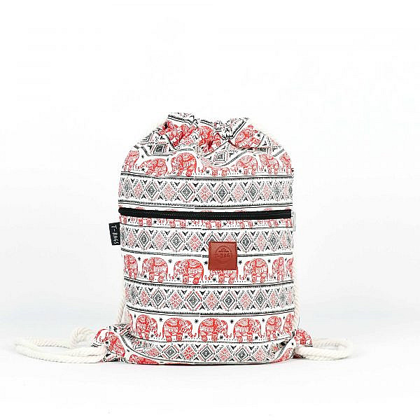 T-Bags Canvas Turnbeutel mit Elefanten rot