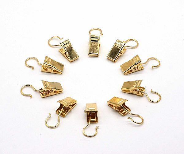 Gardinenklammern Gold mit Haken 10 Stück