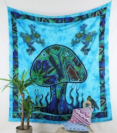 Goa Wandtuch mit psychedelischem Pilz in blau
