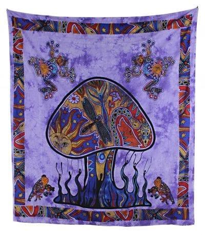 Goa Wandtuch mit psychedelischem Pilz in lila