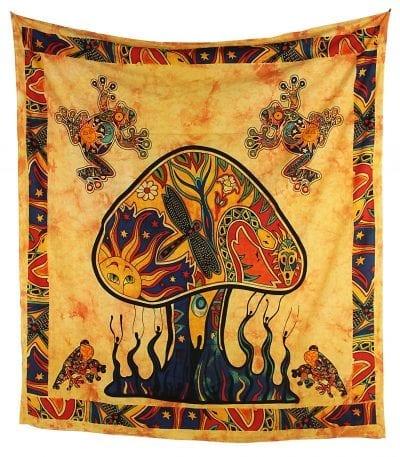 Goa Wandtuch mit psychedelischem Pilz in orange