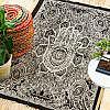 Indischer Teppich mit Fatimas Hand schwarz weiss