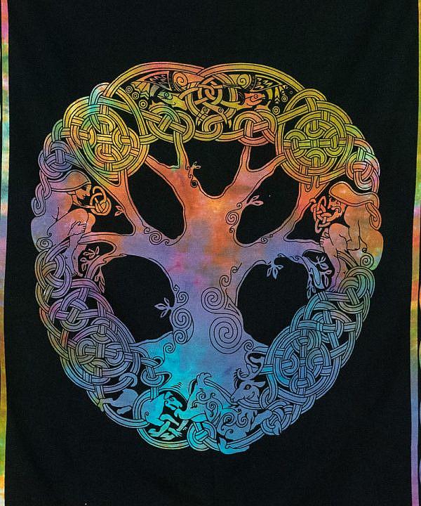 Wandtuch keltischer Knoten schwarz bunt - klein ca. 100x75 cm