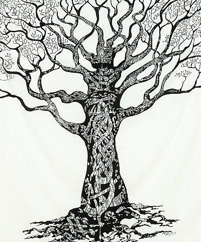 Wandtuch Weltenbaum in schwarz auf weiß