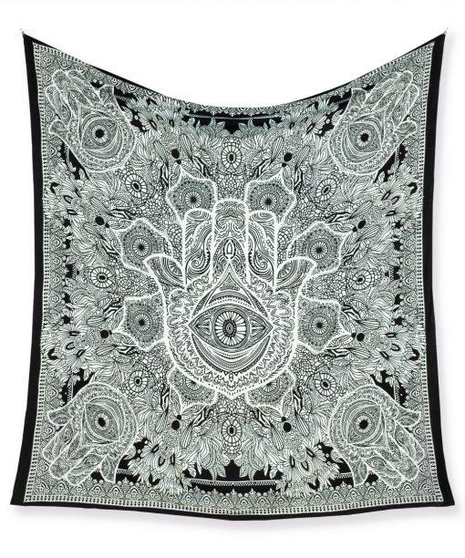 Großes Wandtuch mit Hand der Fatima in schwarz weiß