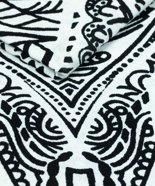 Wandtuch Hand der Fatima schwarz weiß im Detail