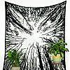 Großes Wandtuch Wald schwarz weiß, UV aktiv