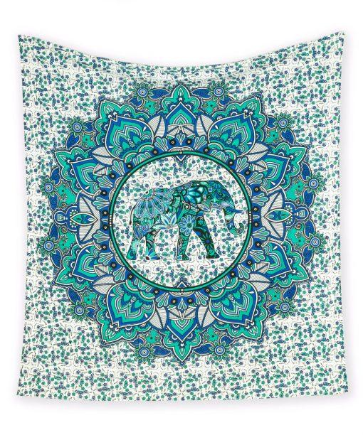 Großes Wandtuch mit Elefant in blau und türkis auf weiß