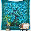 Großes Wandtuch mit Lebensbaum in blau