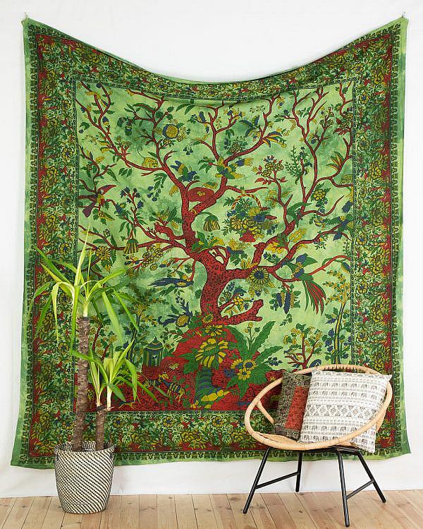 Großes Wandtuch mit Lebensbaum in grün