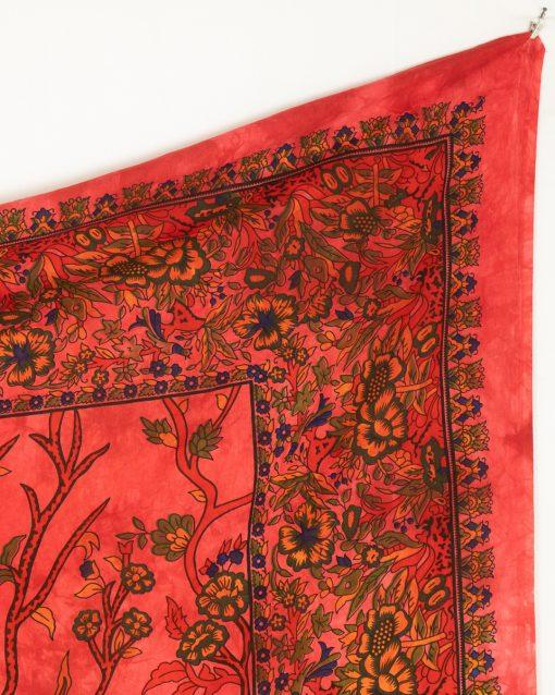 Großes Wandtuch mit Lebensbaum in rot