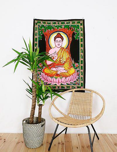 Kleines Wandtuch Buddha im Lotussitz