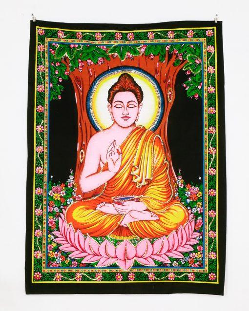 Kleines Wandtuch mit Buddha im Lotussitz