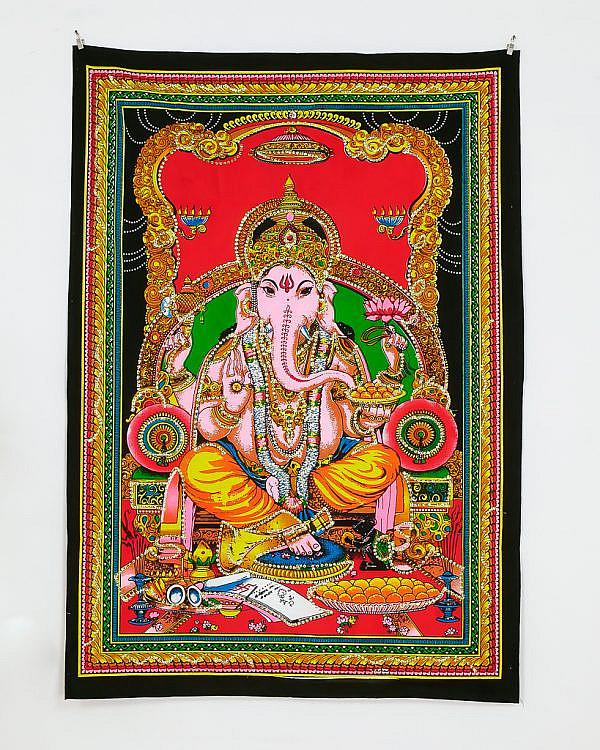 Kleines Wandtuch Ganesha mit goldenen Pailletten
