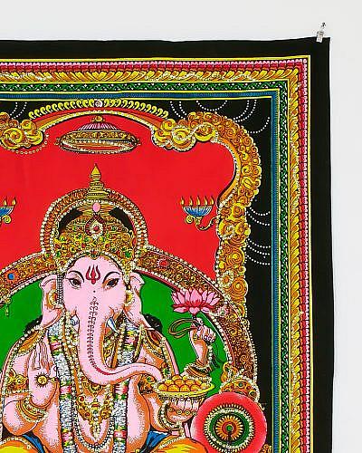 Kleines Wandtuch Ganesha mit Pailletten