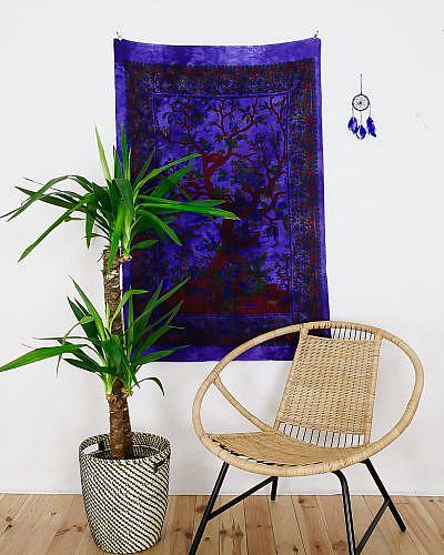 Kleines Wandtuch Lebensbaum in batik lila
